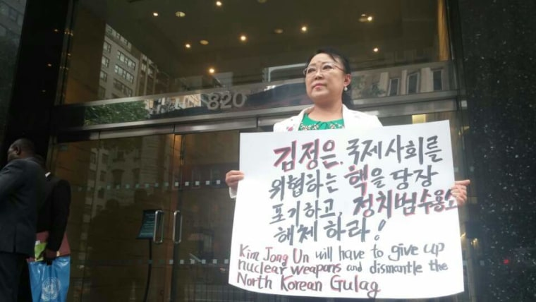 Youngae Ma, a North Korean defector, protesting outside the North Korean diplomatic mission in New York City.