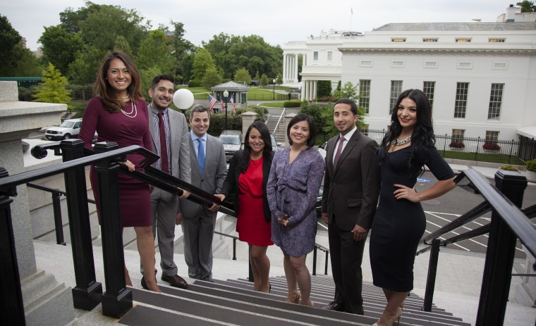 Image: Young Latinos of the Obama White House . Former staffers:  Andrea Ambriz, Tom?s Talamante, Alejandro Miyar, Nathaly Arriola, Stephanie Valencia, Irving Burbano, Mabell Arrambide.