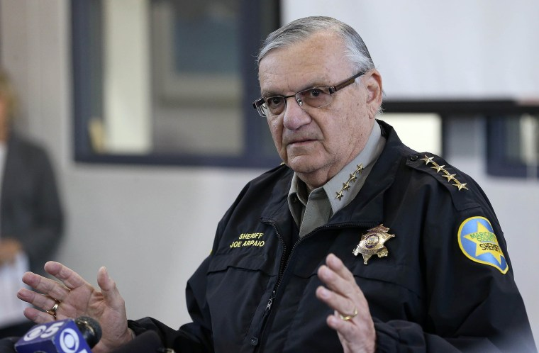 Image: Maricopa County Sheriff Joe Arpaio addresses the media about a simulated school shooting in Fountain Hills Arizona