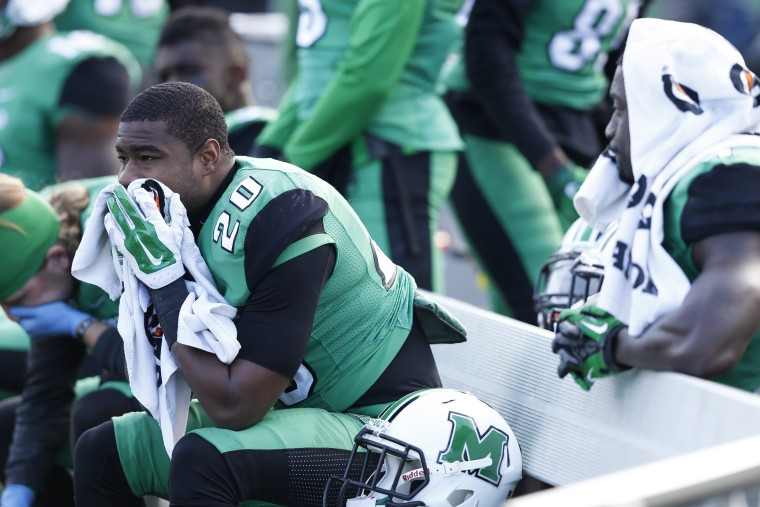 In this file photo from November 28, 2014, Steward Butler of the Marshall Thundering Herd reacts during a game against the Western Kentucky Hilltoppers.