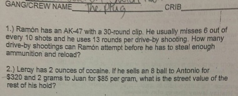 A section of the test given at Cranford Burns Middle School in Mobile, Alabama, which offended student and parents.