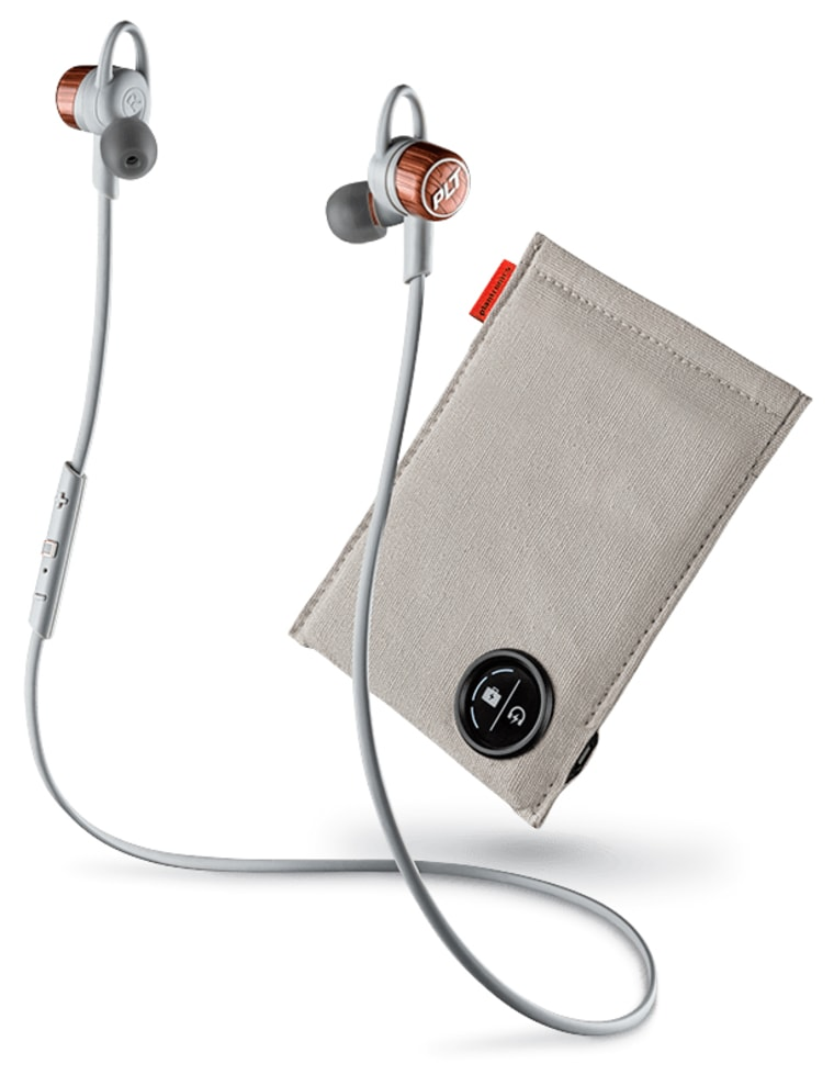 BackBeat GO 3, wirless earbuds in whwite with portable charging case.