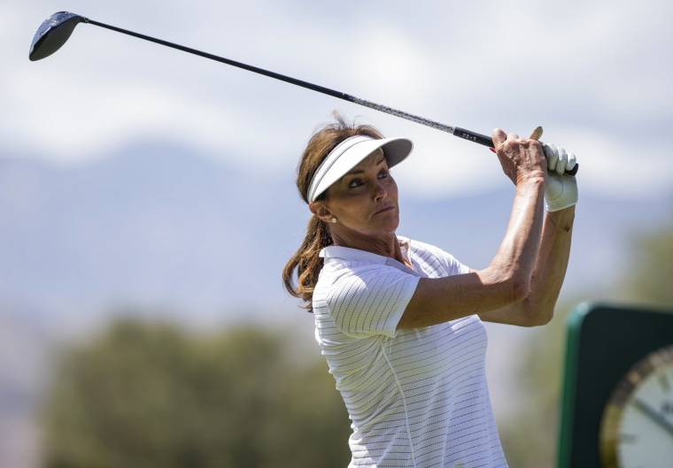 Caitlyn Jenner tees off of the 18th hole during the LPGA's ANA Inspiration Pro-Am at Mission Hills Country Club on March 30, 2016 in Rancho Mirage, California.