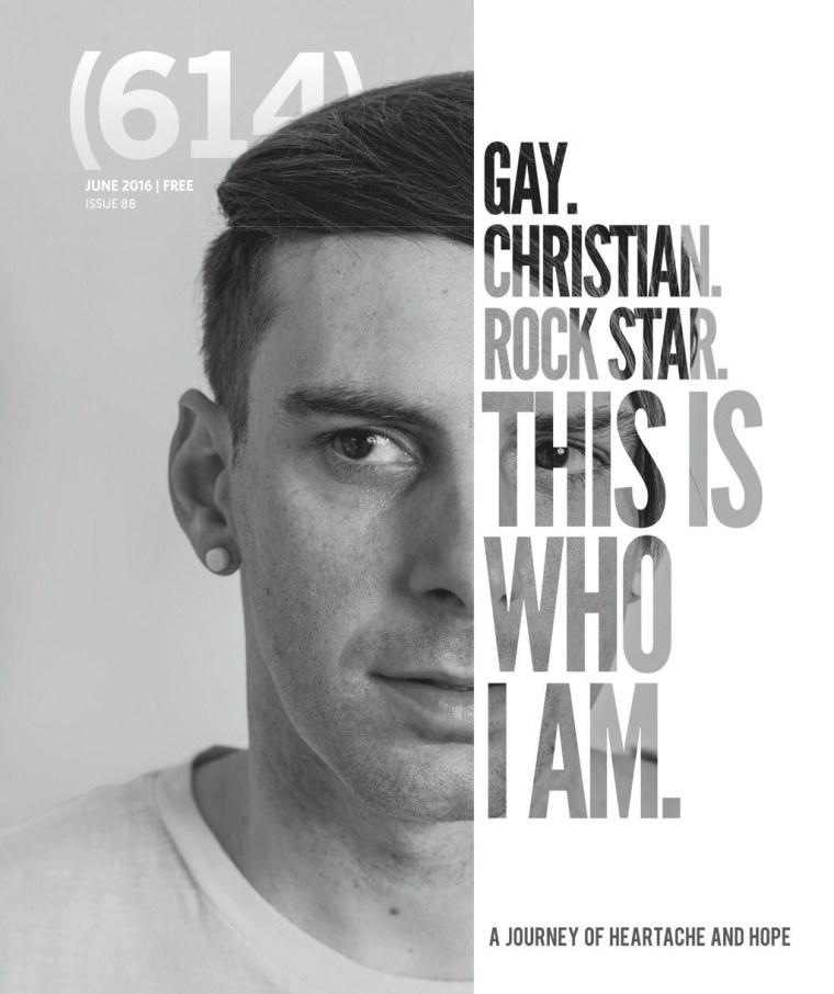 The June 2016 cover of 614 magazine which features Trey Pearson's coming out story.