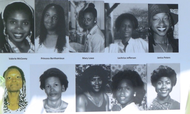 A flier created by the Black Coalition Fighting Back Serial Killers depicts nine women and one girl murdered by Lonnie Franklin Jr.