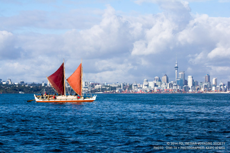 Hokule'a arriving at Aotearoa -- the northern island of New Zealand -- in 2014.