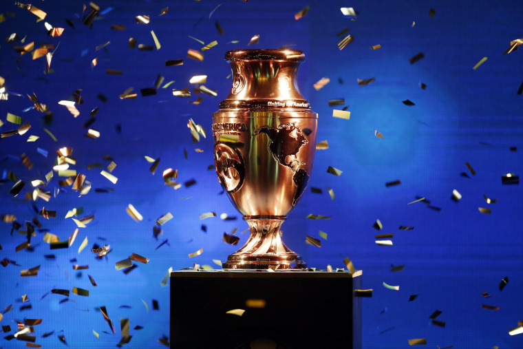 The Copa America Centenario trophy is displayed at a ceremony in Bogota, Colombia