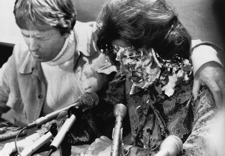 At a press conference for her concert, Anita Bryant had a banana cream pie thrown in her face by Tom Higgins, a gay rights activist from Minneapolis, on Oct. 14, 1977 in Den Moines.