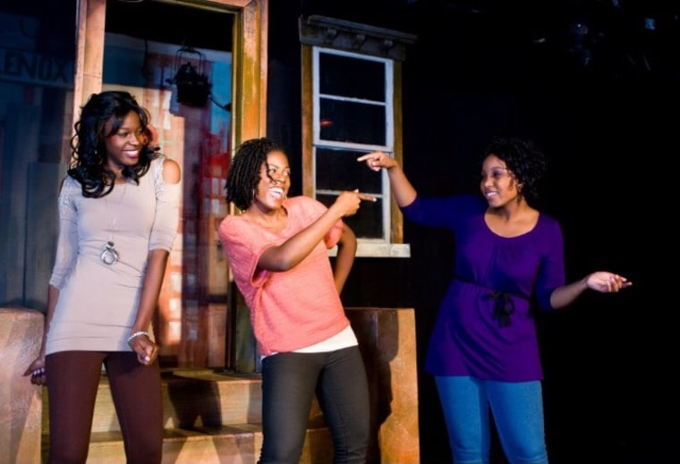 """(L-R) Hollis Heath, Jaylene Clark Owens, Janelle Heatley perform in their play about the gentrification of Harlem, """"Renaissance in the Belly of a Killer Whale."""""""