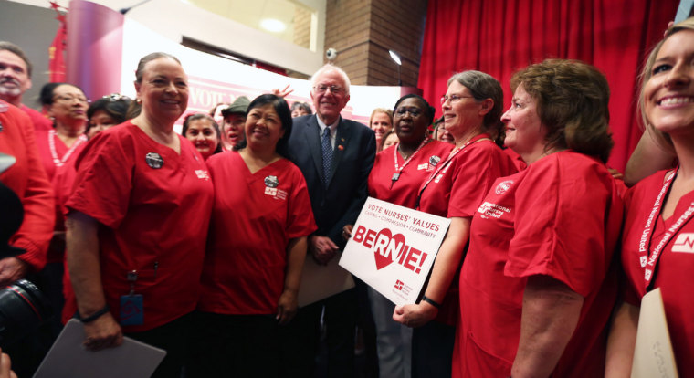 Bernie Sanders with members of the National Nurses Union during a campaign event in California.