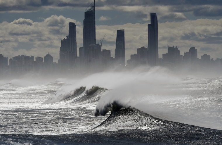Large waves break at Burleigh Heads on the Gold Coast of Queensland, Australia, on June 5. Recent wild weather unleashed heavy rainfalls, powerful winds and abnormally high tides in Southeast Queensland and northern New South Wales.