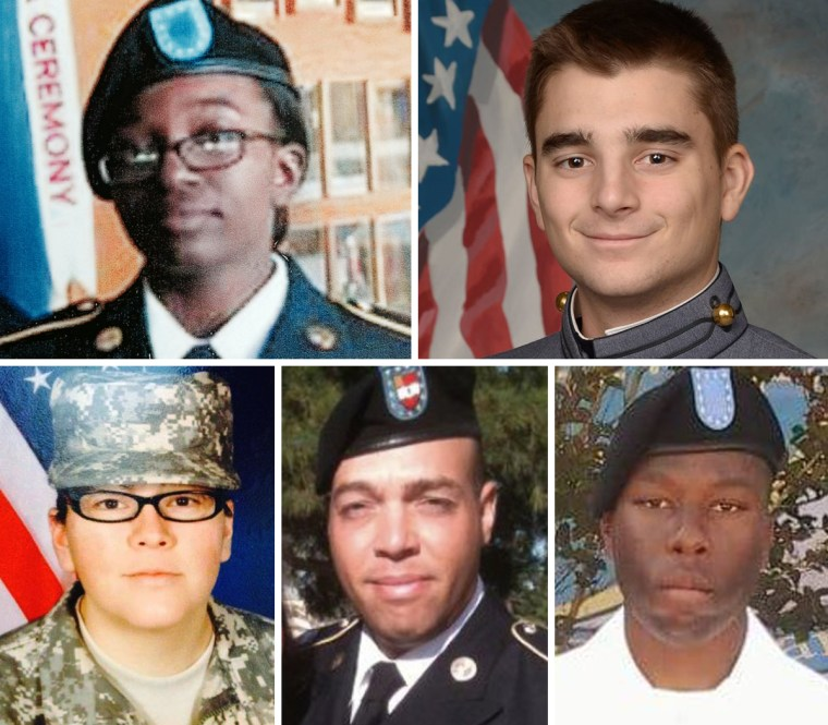 Victims of a Fort Hood training accident include, clockwise from left, Pvt. Tysheena Lynette James, Mitchell Whiney, Brandon Banner, Miguel Angel Colonvazquez and Christine Armstrong