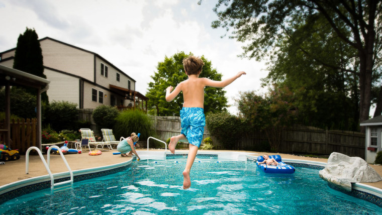 Shooting kids mid-leap will produce poolside action shots that can capture milestones such as learning to dive, or jumping into the water without a float for the first time.