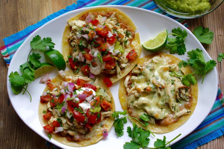Cheesy chicken tacos using leftover chicken