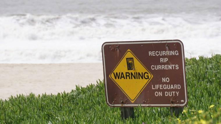 """Coastal """"rip currents"""" sign"""