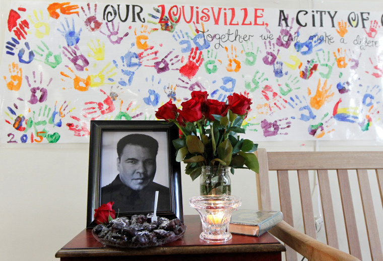 Image: A memorial banner for Muhammad Ali at the Louisville Islamic Center in Louisville