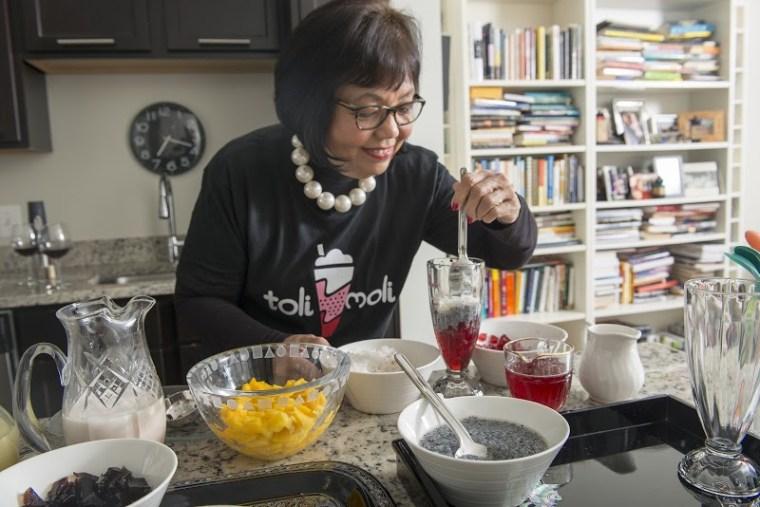 Toli Moli Chef, Jocelyn Law-Yone, testing out falooda products in the kitchen.