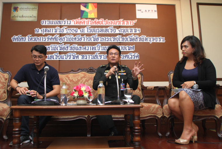 FILE PHOTO: Officials, including lieutenant colonel Piyachart Prasannam (center), attend a conference held by the Thai Transgender Alliance, of which Jetsada Taesombat is the executive director and co-founder.