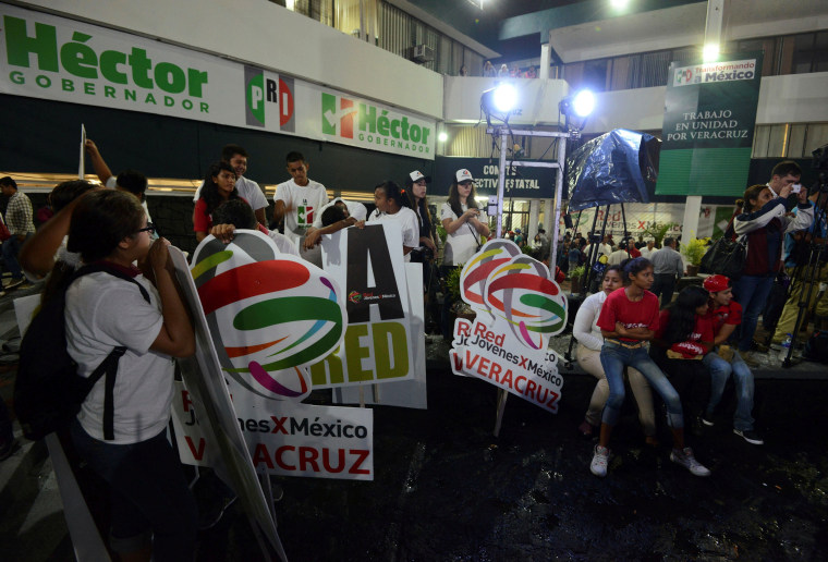Image: Supporters of Hector Yunes, a candidate for governor of Veracruz from PRI, react after regional elections at party headquarters in Xalapa