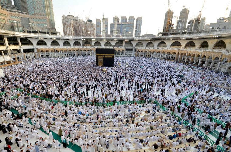 Image: Muslims gather around the Kaaba inside the Grand Mosque during the holy fasting month of Ramadan in Mecca