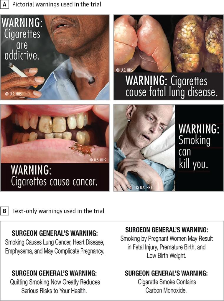 Warnings used in the trial