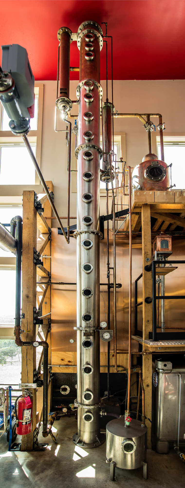 The continuous still at Finger Lake Distilling used for Yobu Soju.