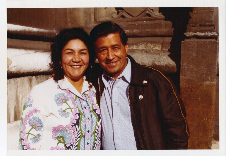 Helen and Cesar Chavez were photographed in London during their tour of Europe to promote the grape boycott in 1974.