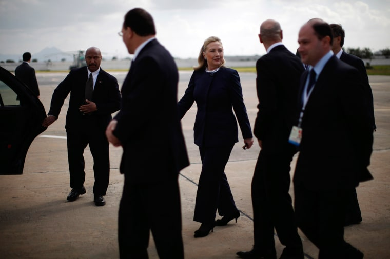 Image: U.S. Secretary of State Hillary Clinton arrives in Tunis