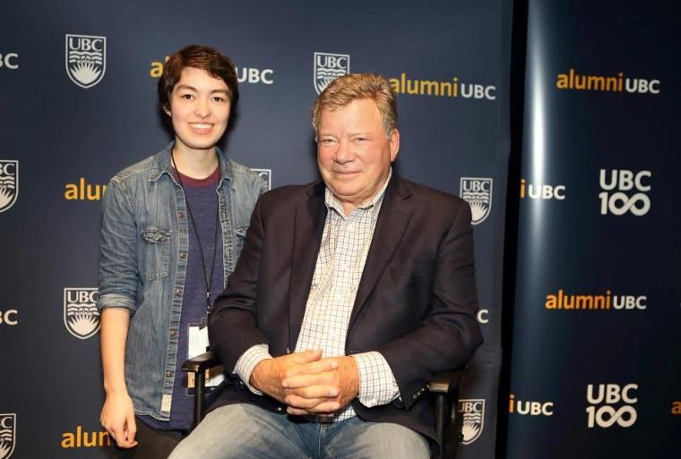 Kunimoto and William Shatner during a UBC alumni event.