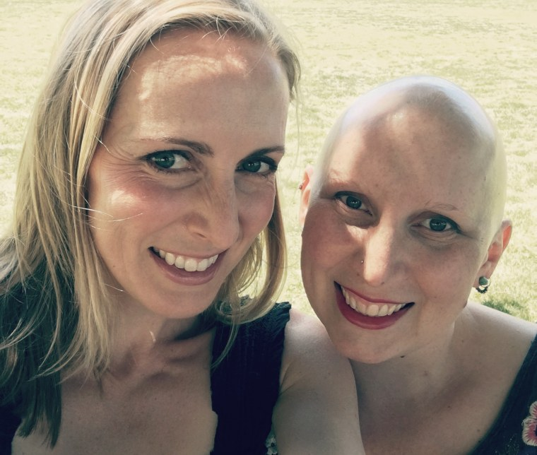 Lauren Bochnowski, left, a patient at the University of California San Francisco's Center for BRCA Research center, with her sister.