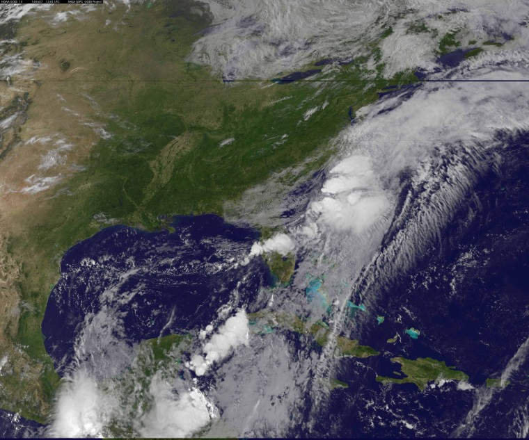 Image: A NASA satellite image showing the Tropical Storm Colin over the U.S. South-East coast