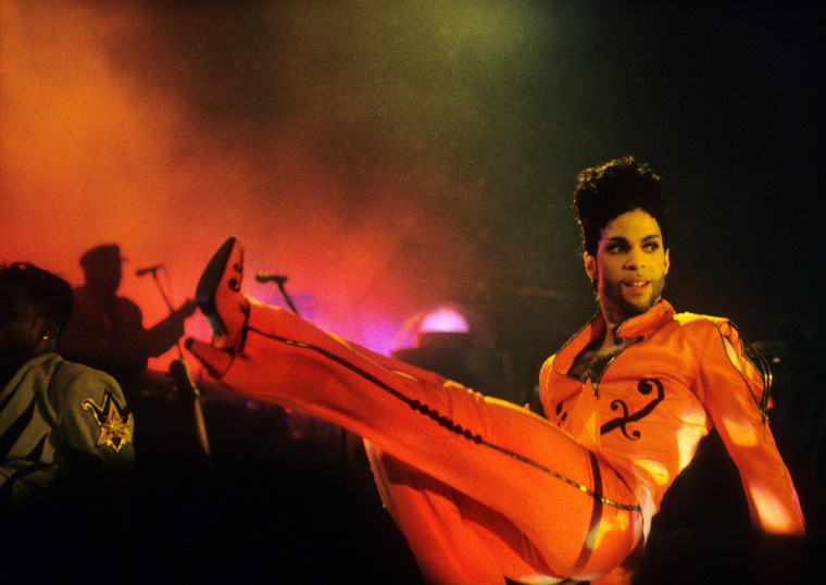 Prince performs on stage at Ahoy, Rotterdam, Netherlands, 6th July 1992.