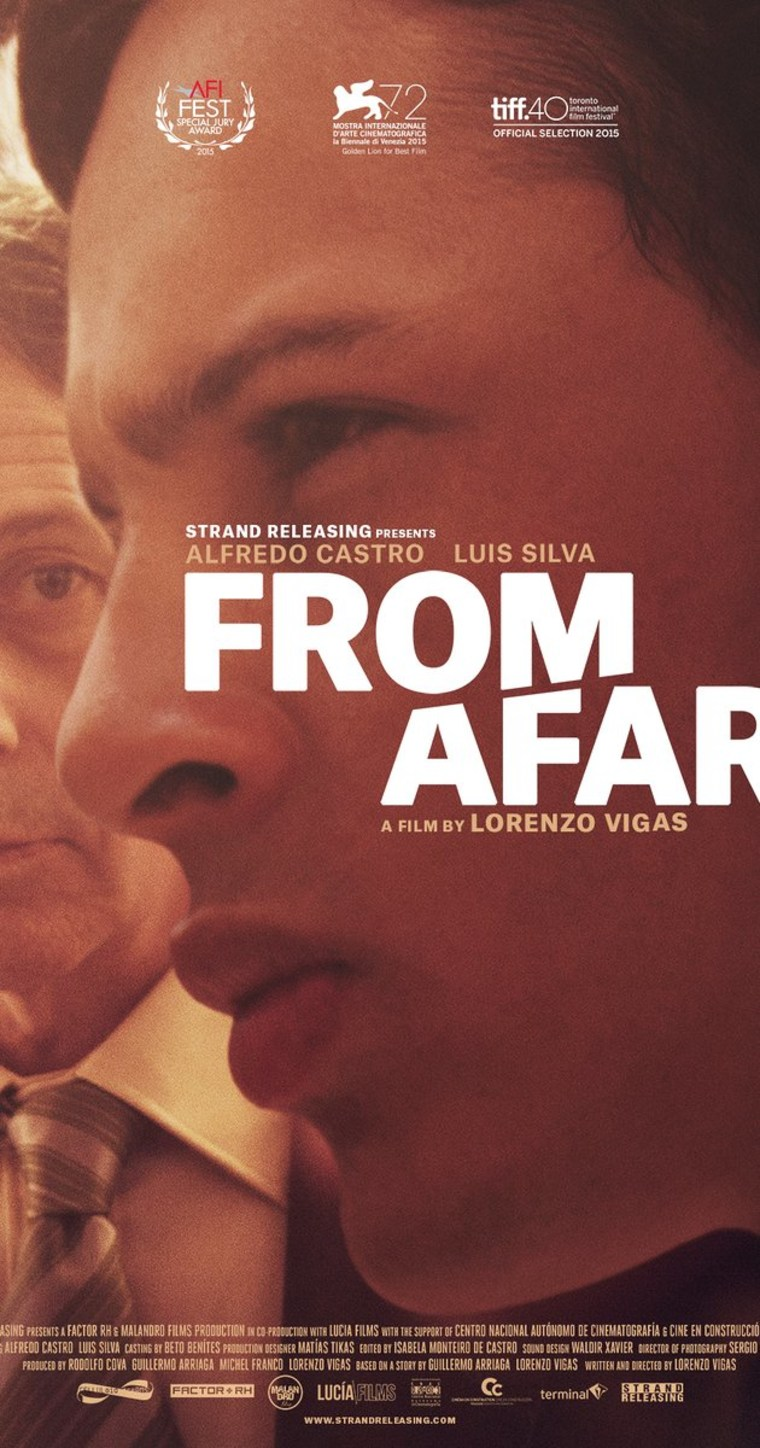 "Poster for the film ""From Afar,"" a psychological drama about a May-December romance between two men in Caracas, Venezuela"