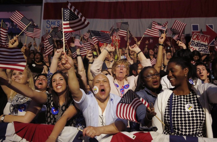 Image: Supporters of Democratic U.S. presidential candidate Hillary Clinton cheer at her California presidential primary night rally held in the Brooklyn borough of New York