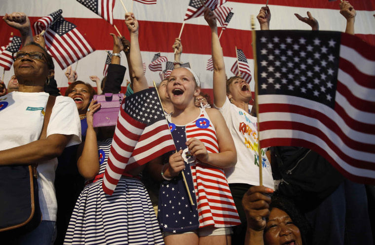 Image: Supporters cheer as Democratic U.S. presidential candidate Hillary Cliinton speaks at her California presidential primary night rally in Brooklyn