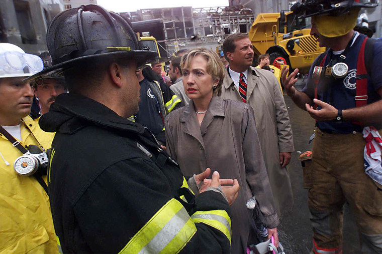 HILLARY CLINTON AT WORLD TRADE CENTER SITE.