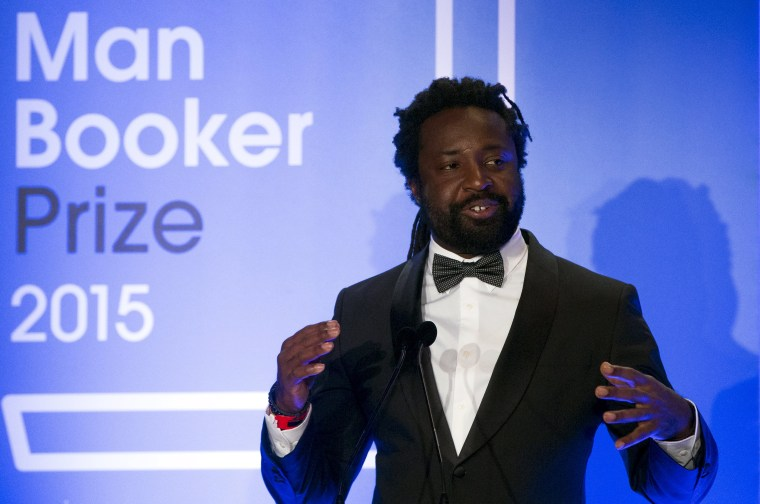 """Author Marlon James winning author of """"A Brief History of Seven Killings"""" speaks at the ceremony for the Man Booker Prize for Fiction 2015 at The Guildhall on October 13, 2015 in London, England."""