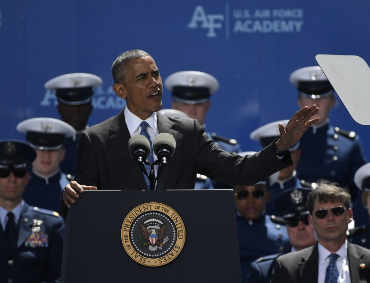 COLORADO SPRINGS, CO - June 02: President Barack Obama gives his commencement address to the United States Air Force Academy 58th graduating class at Falcon Stadium June 02, 2016.