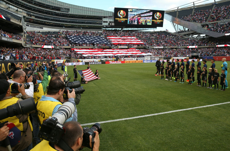 USA Soccer team players before match against Costa Rica