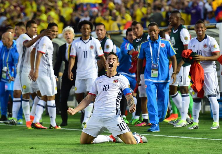 James Rodrigues Celebrates Goal Against Paraguay