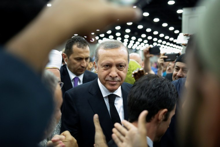 Image: Turkish President Erdogan arrives to take part in the jenazah, an Islamic funeral prayer, for the late boxing champion Muhammad Ali in Louisville