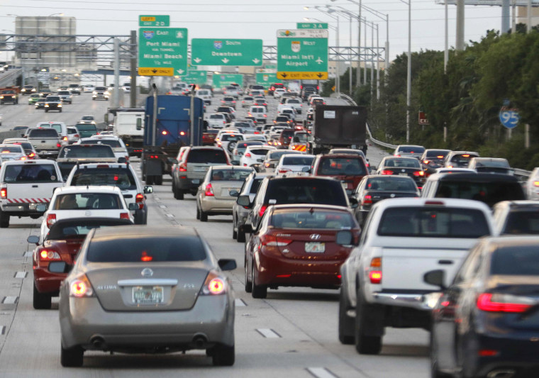 Image: File photo of rush hour traffic on Interstate 95 near downtown Miami Florida