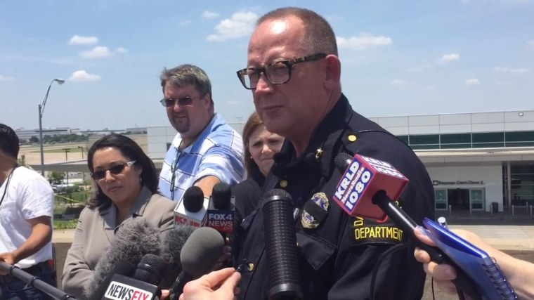 Dallas Assistance Chief of Police Randall Blankenbaker held an afternoon news conference after police responded to reports that the man had been throwing rocks at a vehicle outside an airport terminal in an apparent dispute with a woman at Dallas Love Field airport on Friday, June 10, 2016.