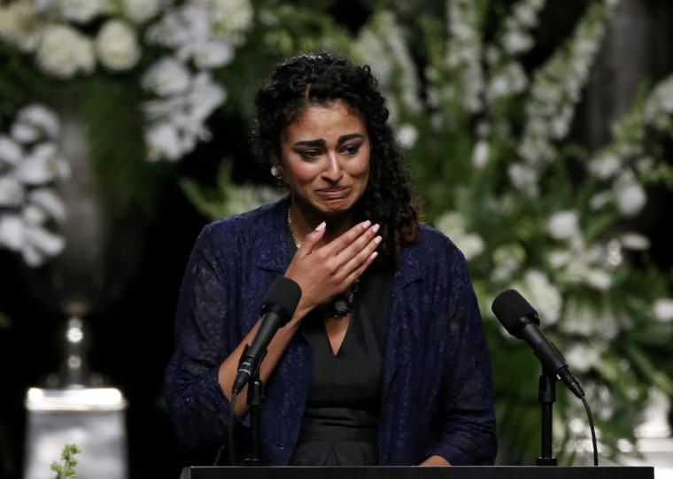 Natasha Mundkur, a student at the University of Louisville, speaks at a memorial service for Muhammad Ali in Louisville, Kentucky, on June 10, 2016.