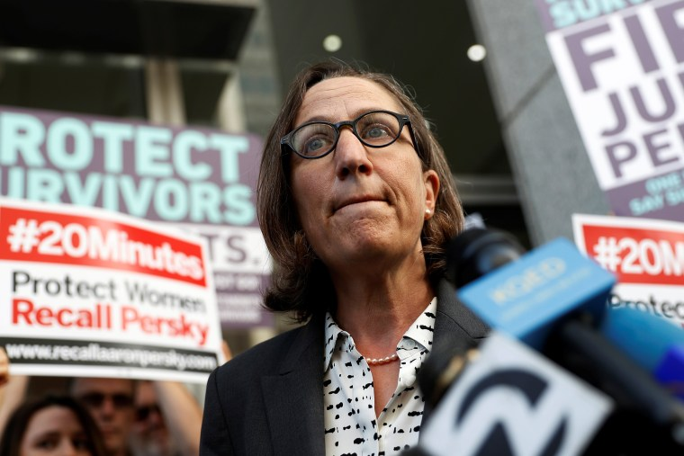 Image: Dauber speaks during a petition delivery calling for the removal of Judge Aaron Persky from the bench after his controversial sentencing in the Stanford rape case, in San Francisco, California