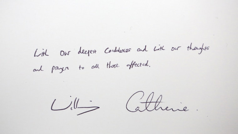note left by the Britain's Prince William  and Kate Duchess