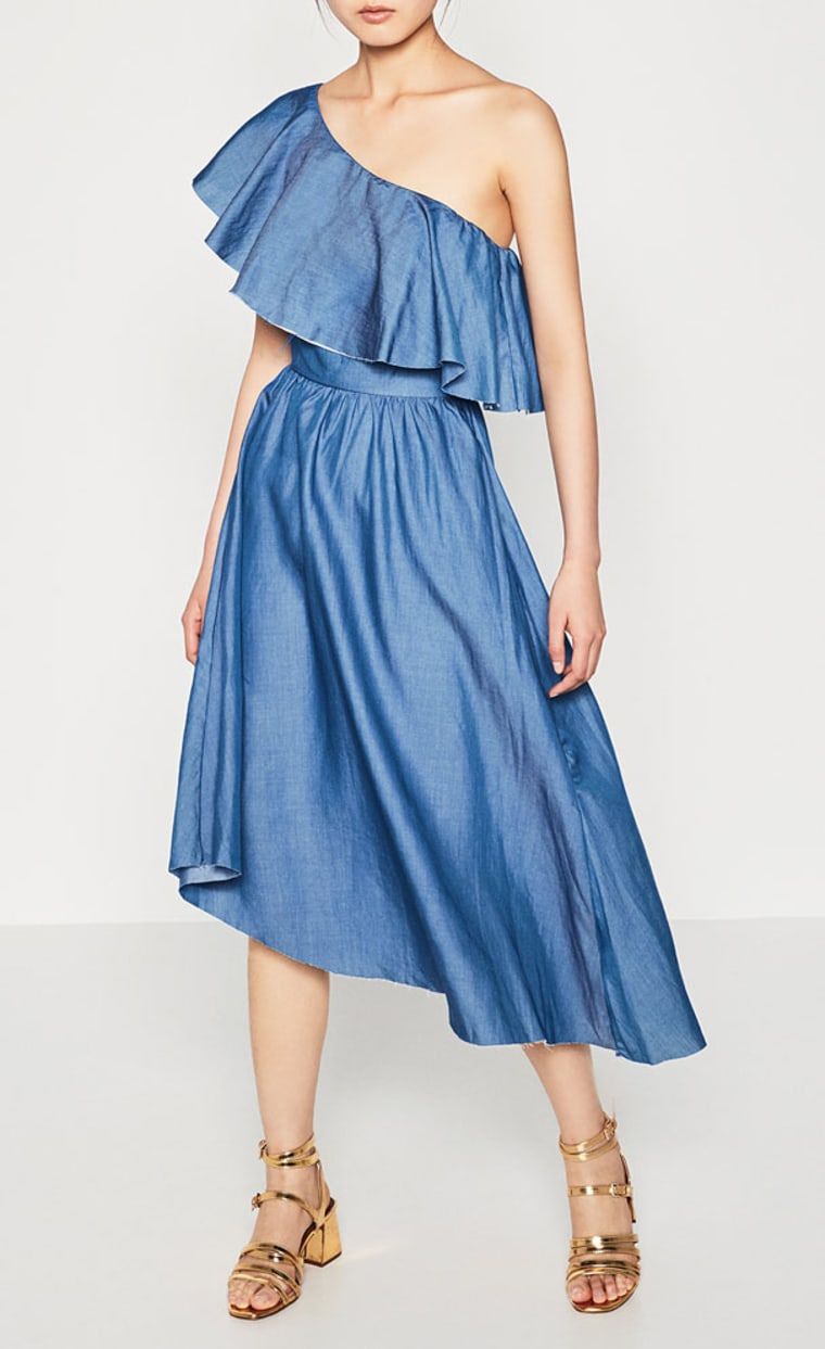 chambray dress with asymmetrical frill