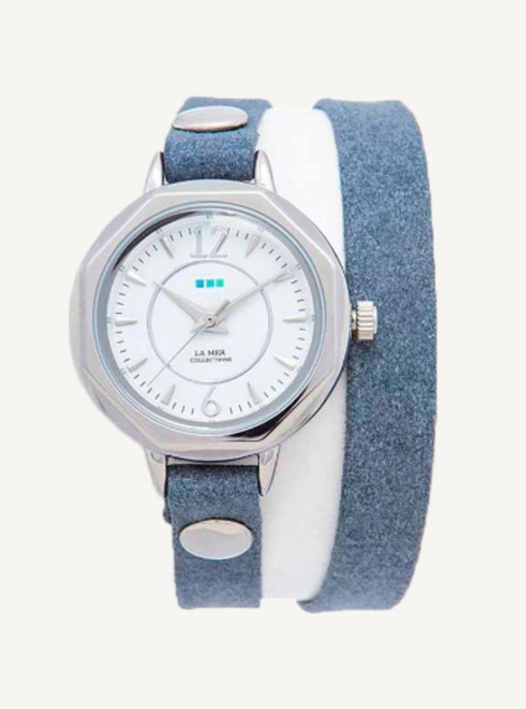 Denim-Silver Del Mar Double Wrap Watch