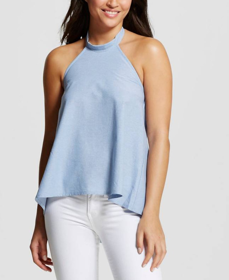 Women's Chambray Tie Back Halter Top Chambray