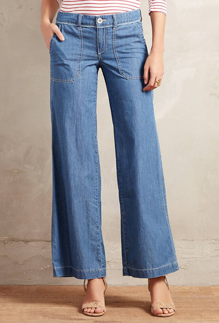 Pilcro Wide-Leg Chambray Jeans